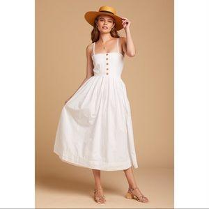 Free People Lilah Pleated Tube Midi White Dress